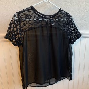 Truth NYC Sheer Black top with Lace Cap Sleeves
